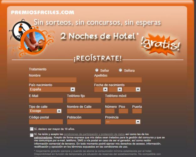 Sorteo de noches de hotel gratis en Premiosfaciles