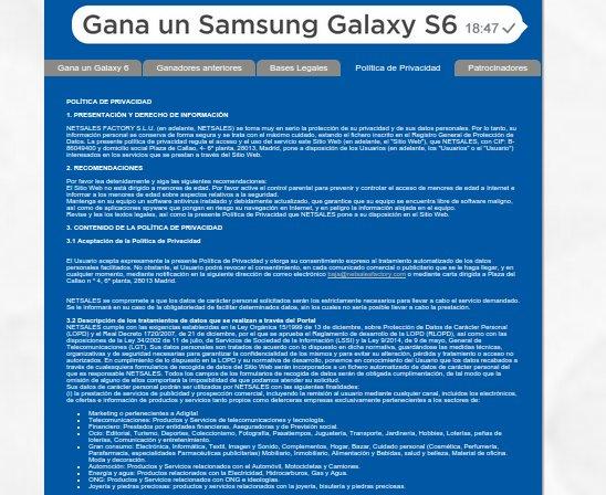Concurso Samsung Galaxy S6 gratis